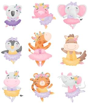 Conjunto de animales lindos en vestidos de bailarina.