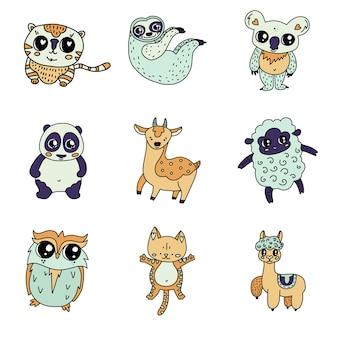 Conjunto de animales lindos