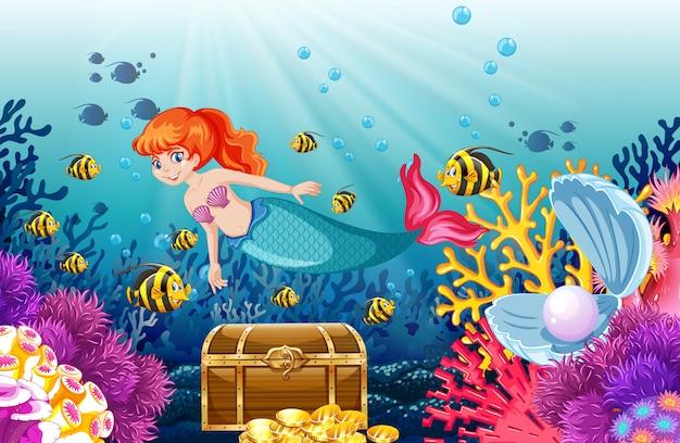 Conjunto de animales marinos y estilo de dibujos animados de sirena en el fondo del mar