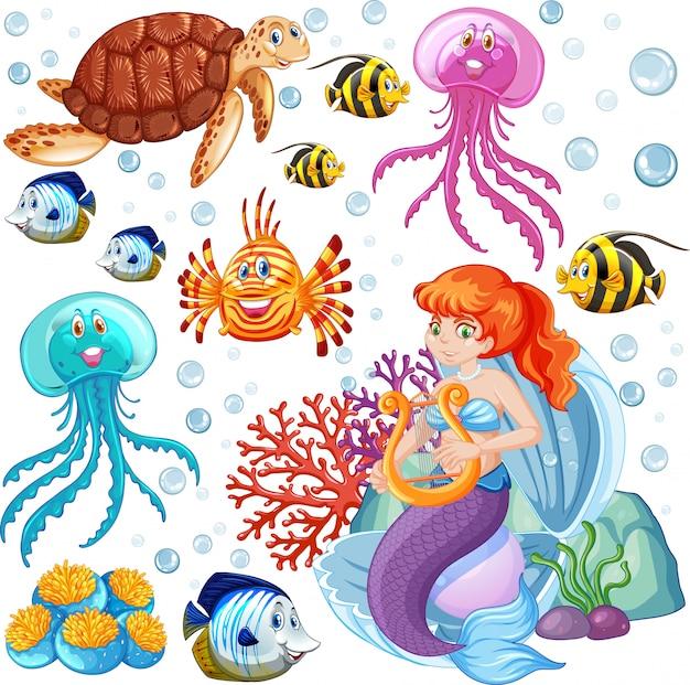 Conjunto de animales marinos y estilo de dibujos animados de sirena sobre fondo blanco