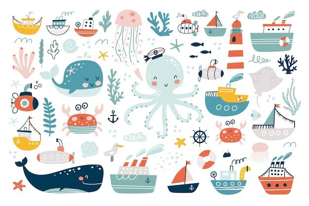 Conjunto de animales marinos. habitantes del mundo submarino