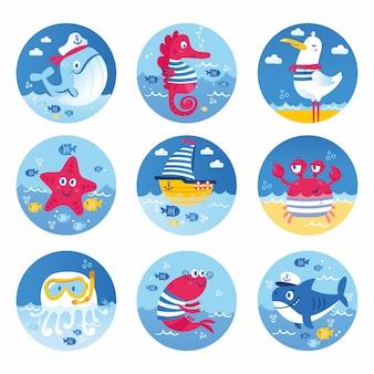 Conjunto de animales marinos peces tiburón ballena medusas estrella caballito de mar cangrejo tortuga. ilustración para invitaciones de fiesta de cumpleaños de aniversario de ropa tarjetas de scrapbooking y pegatina