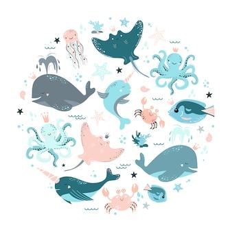 Conjunto de animales marinos