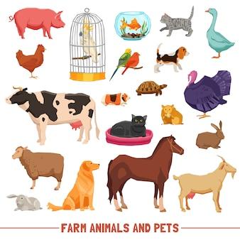 Conjunto de animales y mascotas de granja
