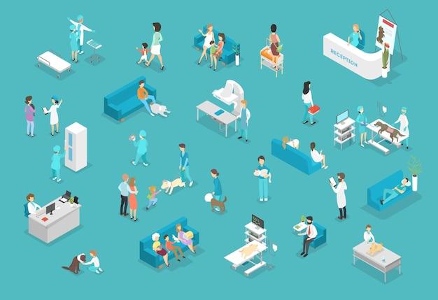Conjunto de animales y médicos en clínica veterinaria. tratamiento animal. médicos y mascotas enfermas. ilustración isométrica