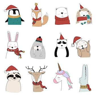 Conjunto de animales de navidad