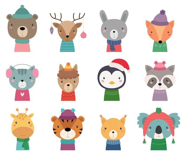 Conjunto de animales navideños