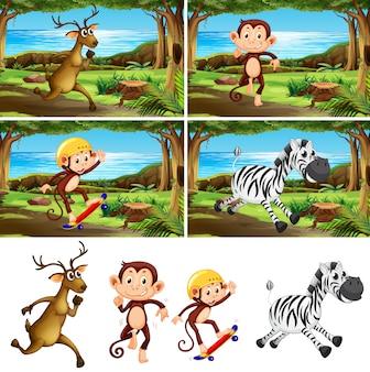 Conjunto de animales en el parque.