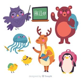 Conjunto de animales de regreso a la escuela