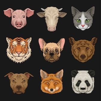 Conjunto de animales salvajes y domésticos, cabezas de cerdo, vaca, bulldog, gato, oso, pug, tigre, zorro ilustraciones dibujadas a mano