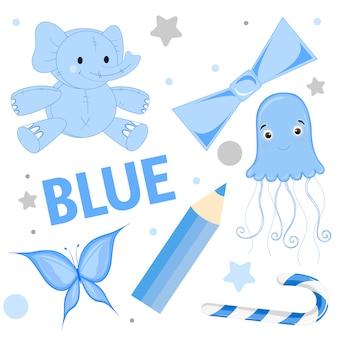 Conjunto de animales salvajes e insectos para niños azul.