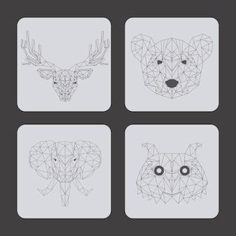 Conjunto de animales sobre fondo gris