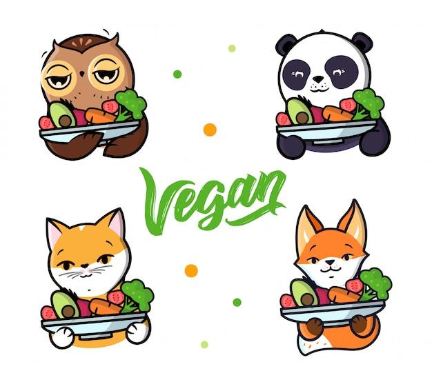 Conjunto de animales sosteniendo un plato de verduras.