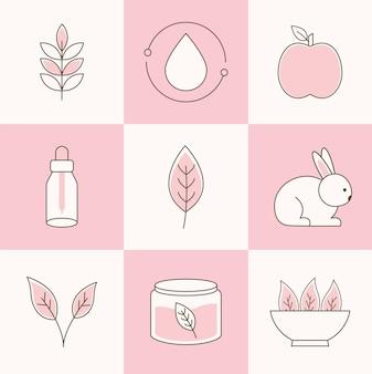 Conjunto de animales, verduras y hojas.