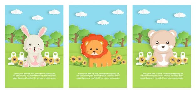 Conjunto de animales de zoológico con leo, oso y conejo, en el jardín para tarjeta de plantilla de cumpleaños, postal. estilo de corte de papel
