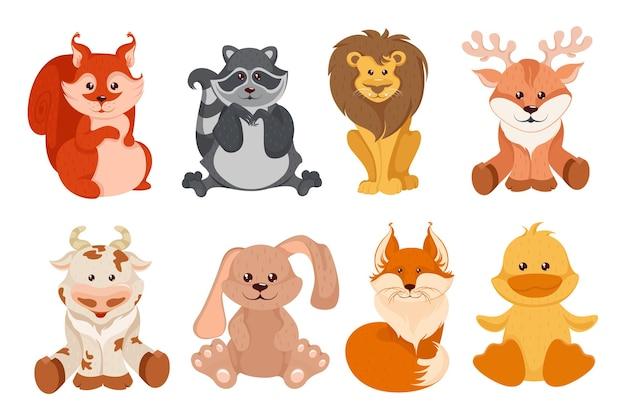 Conjunto de animales zorro de dibujos animados aislado sobre fondo blanco.