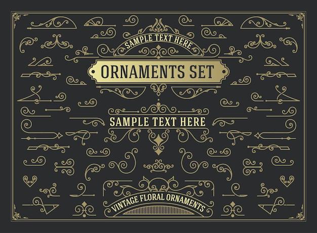 Conjunto antiguo de elementos de diseño de remolinos y pergaminos
