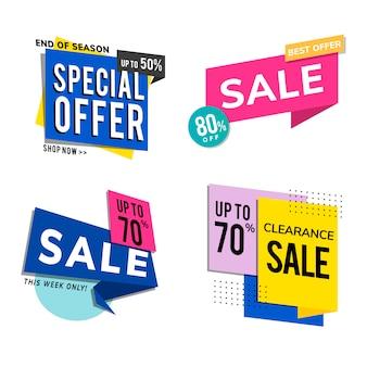 Conjunto de anuncios de promoción de venta.