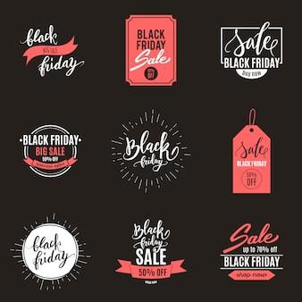 Conjunto de anuncios de venta gran viernes negro de banners
