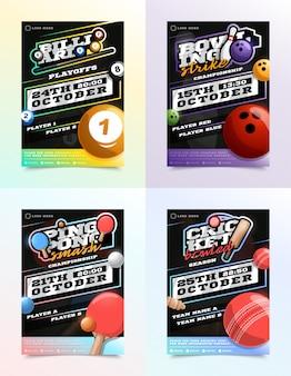 Conjunto de anuncios de volante deportivo. billar, bolos, ping pong, tenis y cricket.