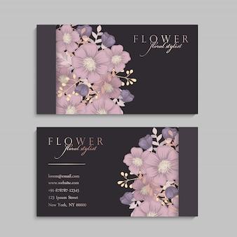 Conjunto de anverso y reverso de tarjeta con flores.