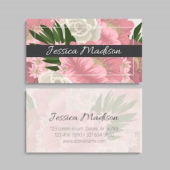 Conjunto de anverso y reverso de tarjeta de visita con flores.