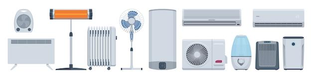 Conjunto de aparatos climáticos planos. acondicionadores, calentadores y otros. ilustración. colección