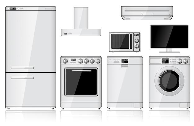 Conjunto de aparatos domésticos realistas