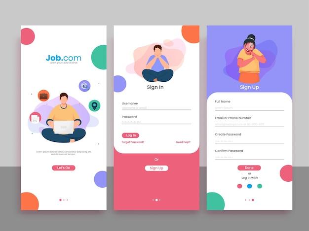 Conjunto de aplicaciones de contratación de trabajo de ui, ux, gui screens, incluida la creación de una cuenta