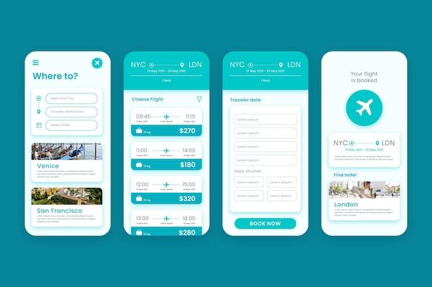 Conjunto de aplicaciones de reserva de viajes