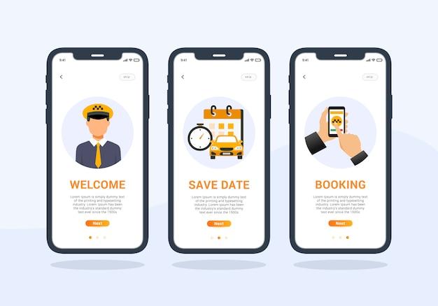 Conjunto de aplicaciones de taxi de diseño de interfaz de usuario móvil de pantalla de incorporación