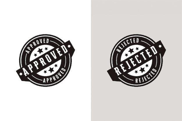 Conjunto aprobado y rechazado insignia de sello de etiqueta de sello