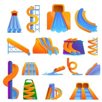 Conjunto aquapark, estilo de dibujos animados