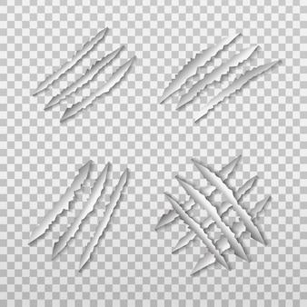 Conjunto de arañazos de garra de león realista en el fondo transparente.