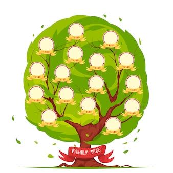 Conjunto de árbol genealógico de miembros de la familia, desde personas mayores hasta la ilustración de plantilla de generación joven