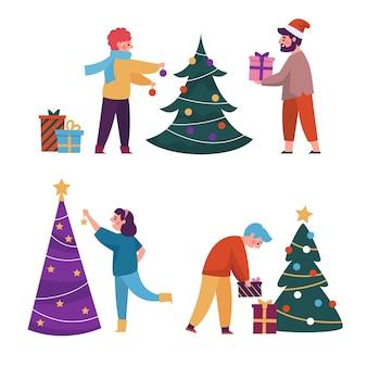 Conjunto de árbol de navidad de decoración de personas