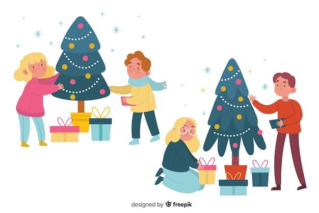 Conjunto de árbol de navidad decorando personas