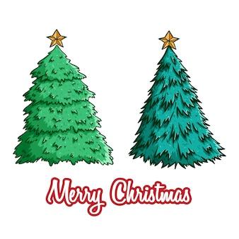 Conjunto de árbol de navidad con estrella usando estilo doodle color