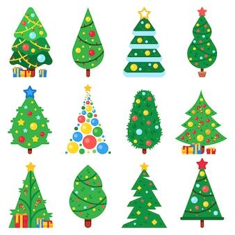 Conjunto de árbol de navidad de papel plano