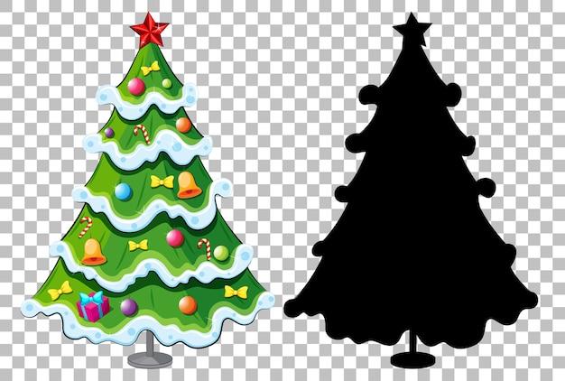 Conjunto de árbol de navidad en transparente