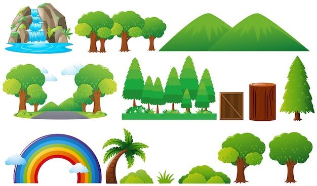 Conjunto de árboles y montañas