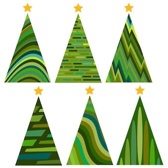 Conjunto de árboles de navidad. ilustración de vector aislado de feliz navidad y próspero año nuevo.