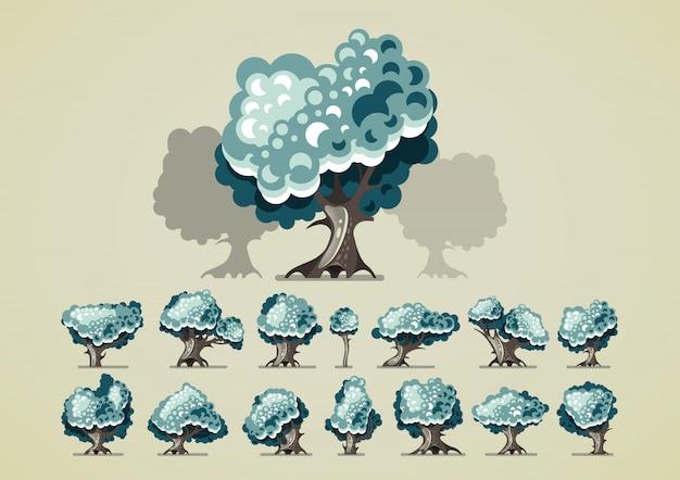 Conjunto de árboles por la noche para videojuegos.