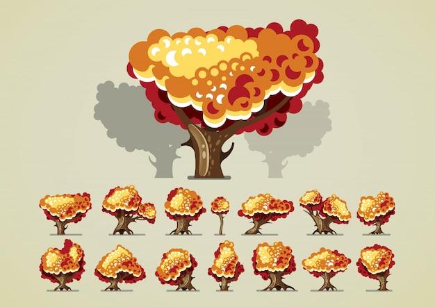 Conjunto de árboles en otoño para videojuegos.