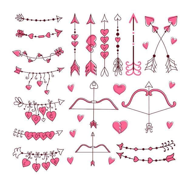 Conjunto de arco y flecha de cupido. ilustración dibujada a mano.