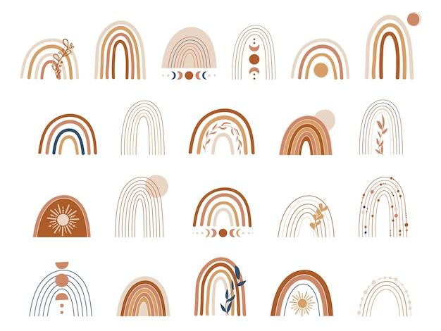 Conjunto de arco iris de cobre y marrón. ilustración de arco iris de boho