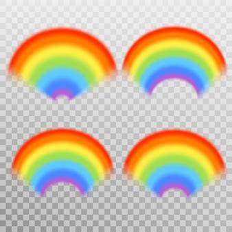 Conjunto de arco iris colorido realista. fondo transparente solo en