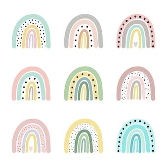 Conjunto de arco iris ilustración vectorial estilo de dibujos animados doodle