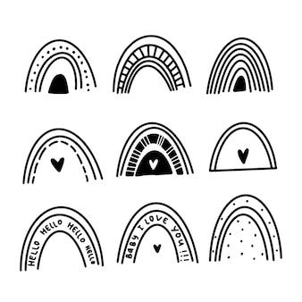 Conjunto de arcoiris en estilo doodle