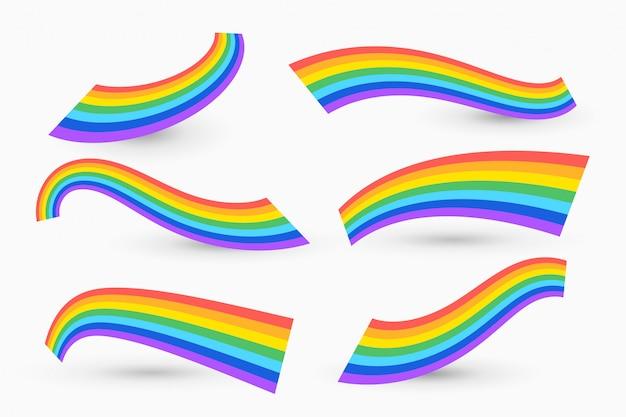 Conjunto de arcoiris ondulado